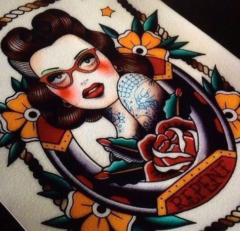 Tattoo Old School Mädchen Rockabilly Ink 48 Ideen   – Old school tattoo