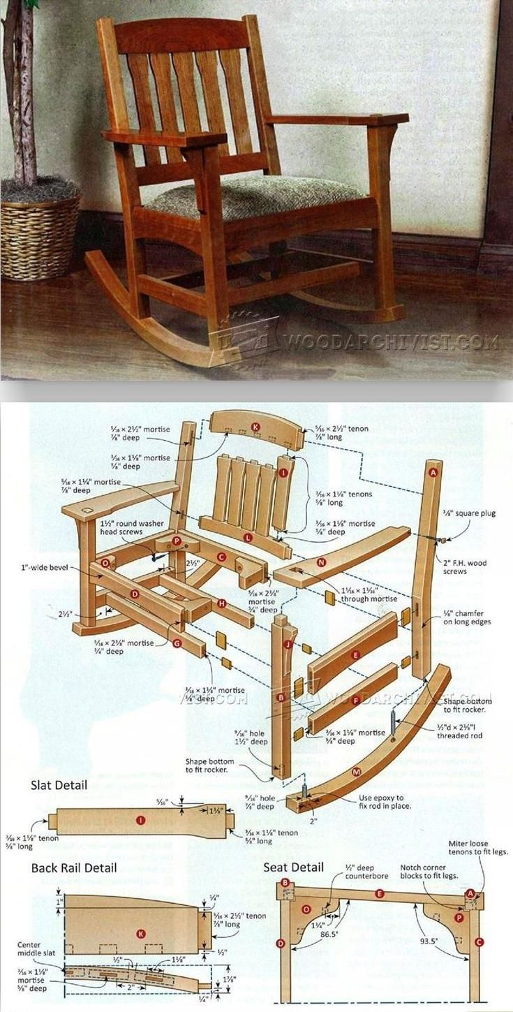 Wooden rocking chair plans - Arts Crafts Rocking Chair Plan Furniture Plans And Projects Woodarchivist Com