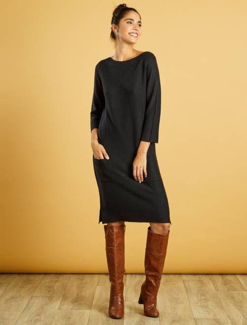 Robe pull maille fantaisie noir Femme - Kiabi   платья больших ... 5874124fdf3f