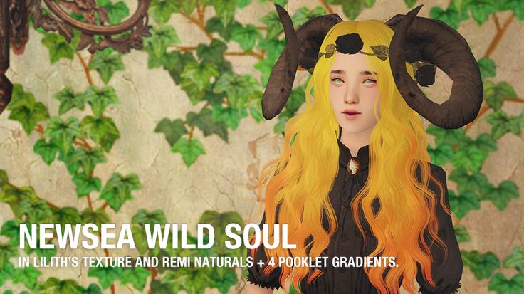 NEWSEA WILD SOUL  In lilith's maxis match textures. Comes in remi's 3.5 naturals and is binned. Also included are 8 ombres; 4 natural ombres (in remi's and pooklet's colours) and 4 unnaturals (in pooklet's colours). Mesh included.  Credits to Lilith,...
