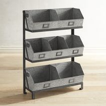 Our galvanized shelf will be recognized just as much for its rustic character as for its utility and function. The galvanized iron construction adds to its overall rustic appeal. With seven separate bins, it's Ideal for fruit, vegetable and utensil storage in the kitchen, or towel, reading material and product storage in the bathroom.