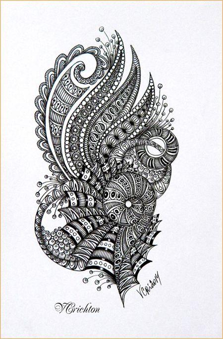 Zentangle, zendoodle, зендудл, graphic, hand-made, pattern, tangle, графика, узоры, рисование гелевой ручкой, черно-белая графика, зентангл, тангл, паттерн.