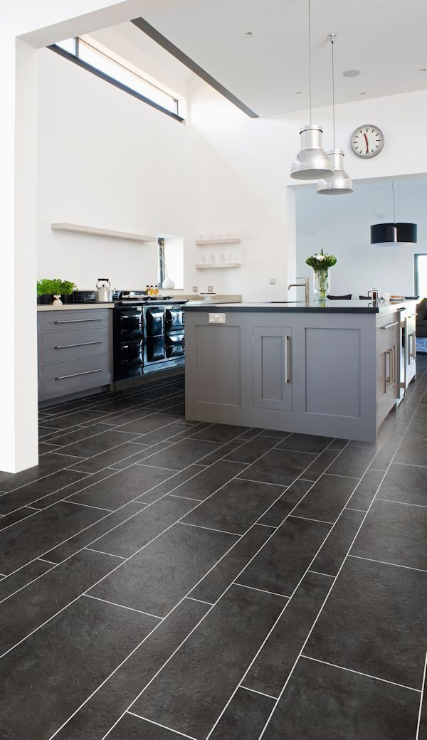Tile Flooring Kitchen Stainless Island Slate Effect From The Cavalio Conceptline Vinyl Wood