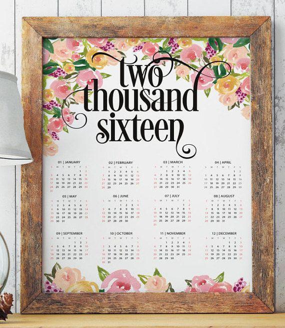 Printable calendars 2016 floral print art por TwoBrushesDesigns