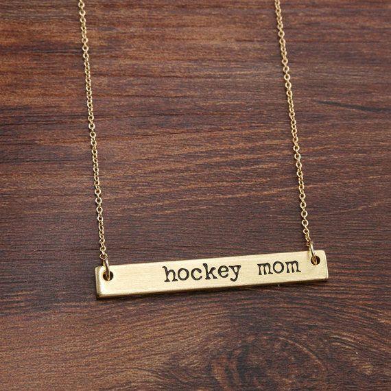 Hockey Mom Necklace Horizontal Brass Bar by LaurenSpencerJewelry