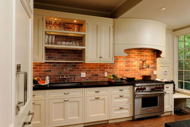 Everything black counter tops brick back splash and - White brick kitchen tiles ...