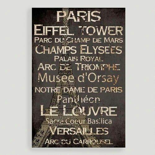 Paris Word Collage Wall Decor