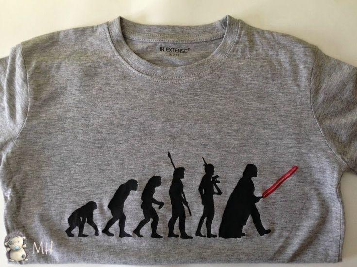 MADRES HIPERACTIVAS: Camiseta Evolución (a Darth Vader) con Plastidecor y Rotuladores