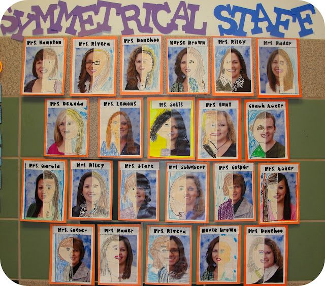 Symmetrical Staff- Half a staff member's picture, kid finishes pic as symmetrically as possible (A good idea for students to do with their own pictures)
