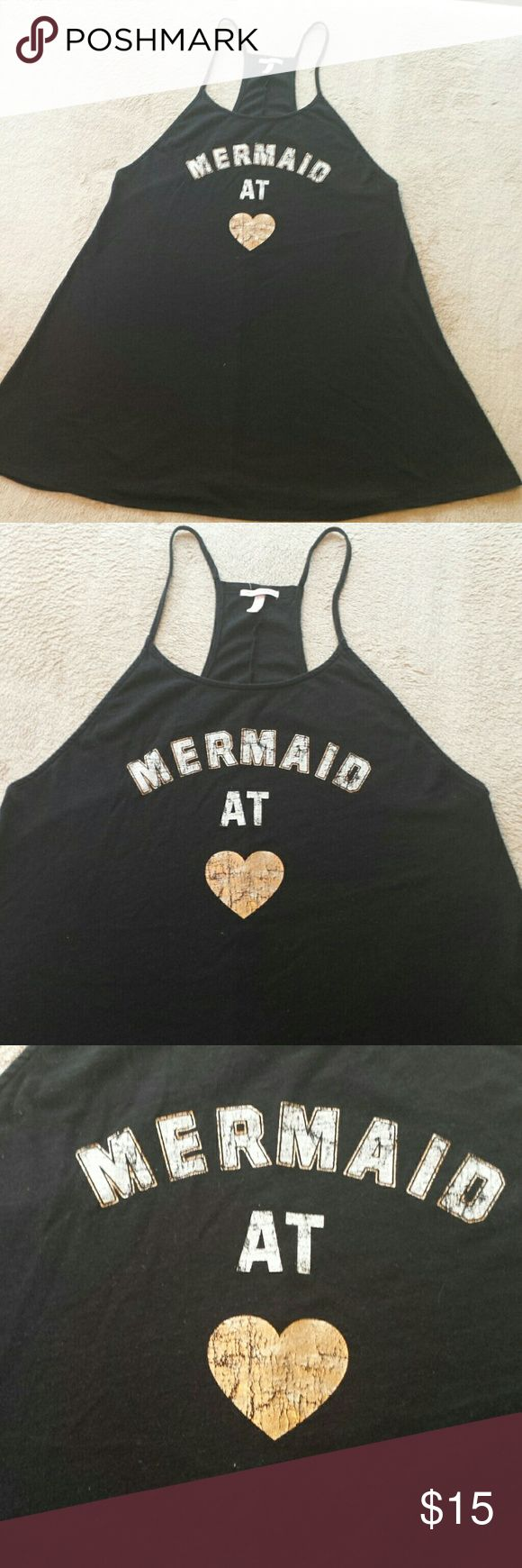 V.S. Mermaid At Heart Sleep Shirt/Coverup. Large. Black Victoria's Secret racerback sleep/night shirt or swimsuit /beach coverup. I can't remember what it was listed as when I bought it but I wore it as a cover up. The white and gold are a little crinkled. Some of it was like that when it was brand new & some of it's from normal wear. No stains or holes. See pics for approx. measurements. It's a little oversized in my opinion. Size on tag is Large. Victoria's Secret Swim Coverups