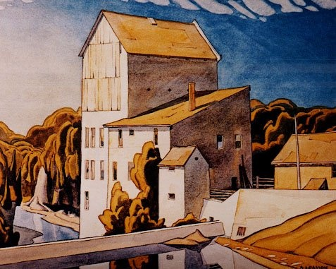 "Group of Seven artist A. J. Casson first visit to Elora Ontario was in 1929, Casson best remembered paintings include ""Mill at Elora"""