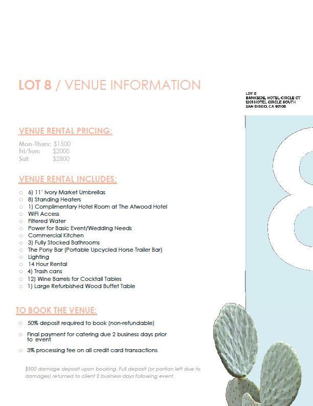 San Diego Venue Price List Lot 8 Hotel Circle Wedding Venue Prices San Diego Wedding Venues Wedding Venues