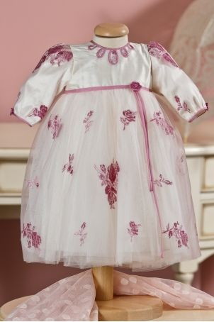 """Ileana Cosanzeana"" dress, with beautiful embroidered pink flowers, for a princess look, from Petite Coco.  http://www.petitecoco.ro/shop/en/tres-chic/15-ileana-cosanzeana-dress.html"