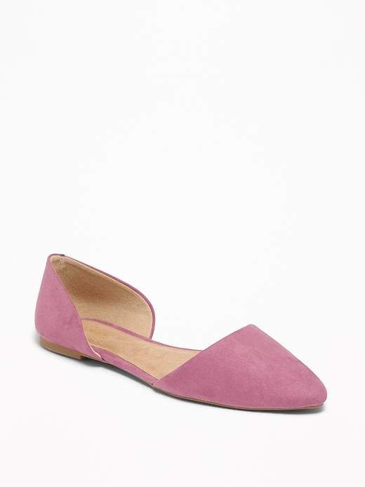 6c76db70e66 Old Navy Women s Faux-Suede D orsay Flats L.A. Pink Regular Size 6 ...