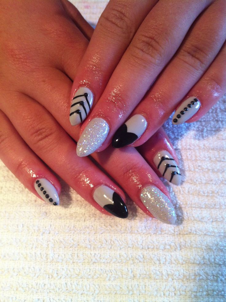 Almond Gel Nails With Nail Art My Work Pinterest