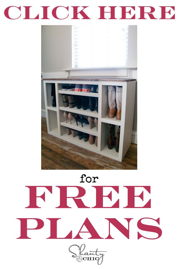 Free plans for this shoe organizer. This would look so nice in our mudroom