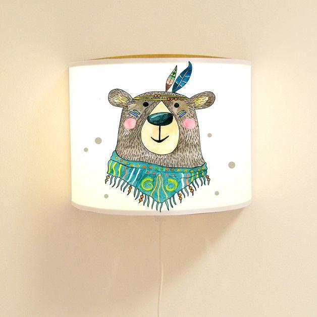 Schlummerlampe fürs Kinderzimmer mit einem süß illustrierten Bär / night lamp for the nursery with illustrated bear made by deinewandkunst via DaWanda.com