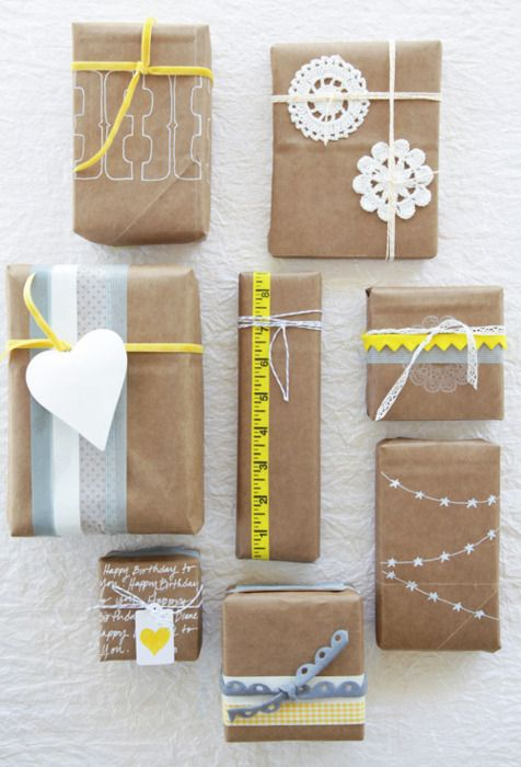 presents wrapped in craft with yellow and white accents