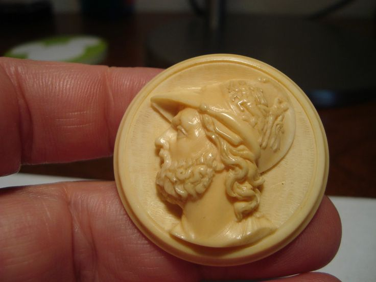 """Antique carved Mythology """"AJAX, Greek Hero of the Trojan War"""" relief button"""