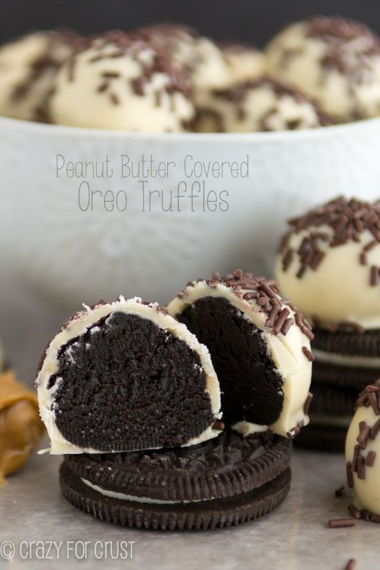 An Oreo truffle covered in peanut butter white chocolate!