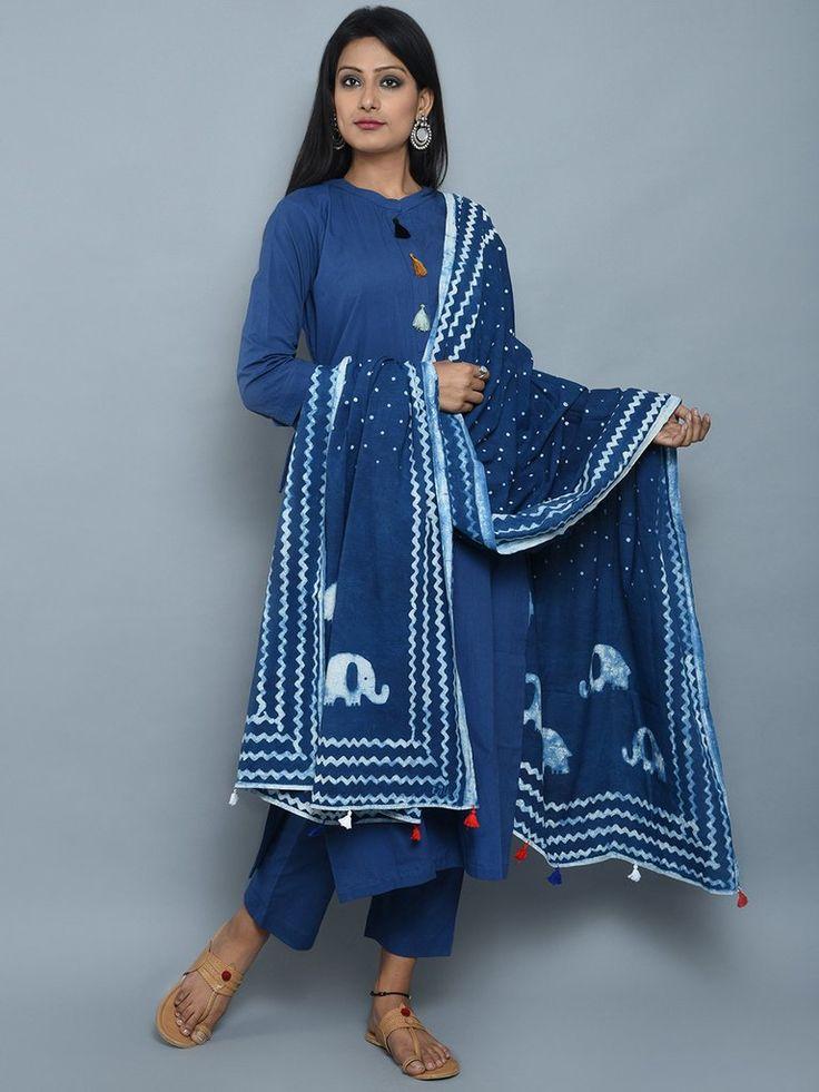 Blue White Cotton Kurta and Pants with Block Printed Dupatta- Set of 3