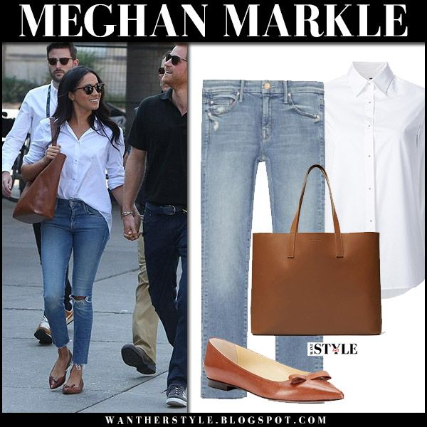 Meghan Markle with Prince Harry in white shirt, ripped jeans and brown tote in Toronto september 25 2017 street style