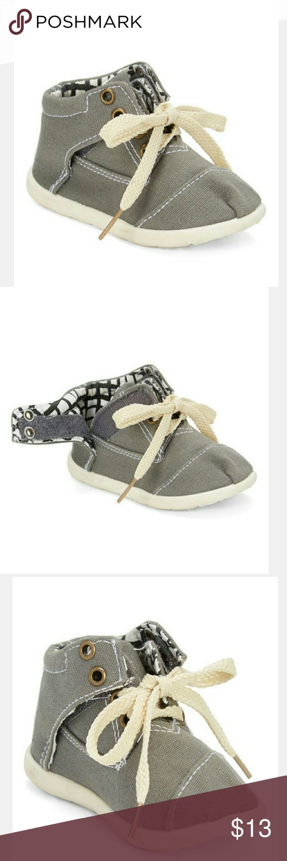 Toddler velcro tie shoes Grey high top never worn velcro shoes My buddies  Shoes Baby & Walker