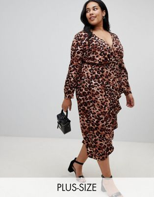 30bd6371e2 Influence Plus leopard print wrap midi dress with ruffle