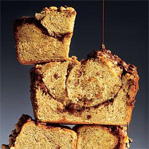 Chocolate-Hazelnut Banana Bread Recipe -Cooking Light. Bread. Snack. Dessert. Breakfast.