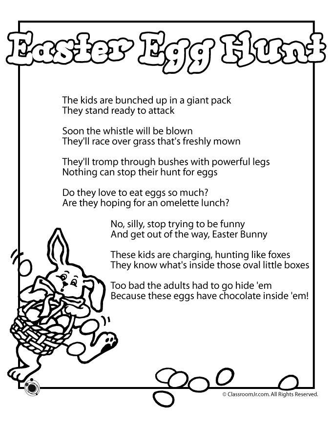 Printable Easter Kids Poems Poem Egg Hunt Clroom Jr Children S In 2018 Pinterest And