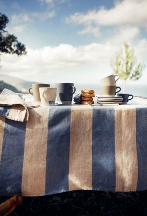 from cocokelley blog. Blue and white linen table cloth
