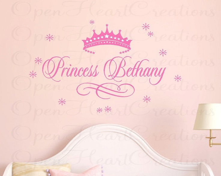 Princess name wall decal baby girl nursery by openheartcreations