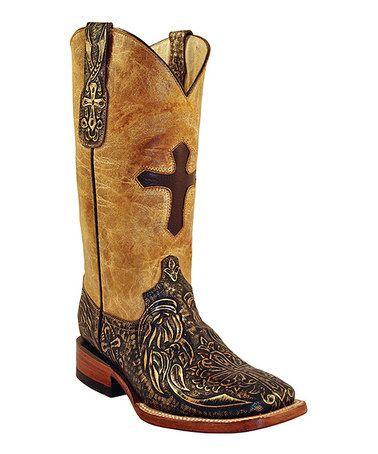 ferrini gold black embossed cross leather cowboy boot
