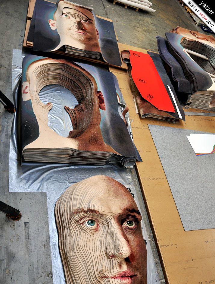 Face to Face by Brian Frandsen for Danish flooring label ege carpets. In total, 920 m2 of carpet, cut up into 250 layers is composed into a three-dimensional portrait
