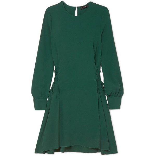 Theory Lace-up crepe midi dress (640 BGN) ❤ liked on Polyvore featuring dresses, dark green, midi dress, front lace up corset, laced up dress, form fitting dresses and dark green dress