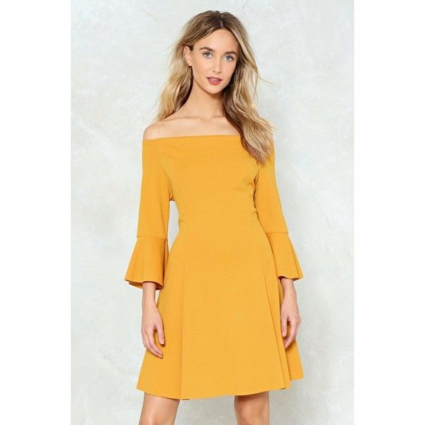 Nasty Gal Flare Sleeve Bardot Dress ($50) ❤ liked on Polyvore featuring dresses, mustard, yellow off the shoulder dress, yellow sleeve dress, mustard yellow dresses, off shoulder bell sleeve dress and elastic dress