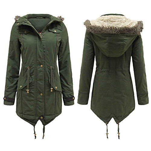 Khaki UK 26 - US22 - GG Women's Dora fur lined hood padded parka Ladies Jacket -- You can find more details by visiting the image link.
