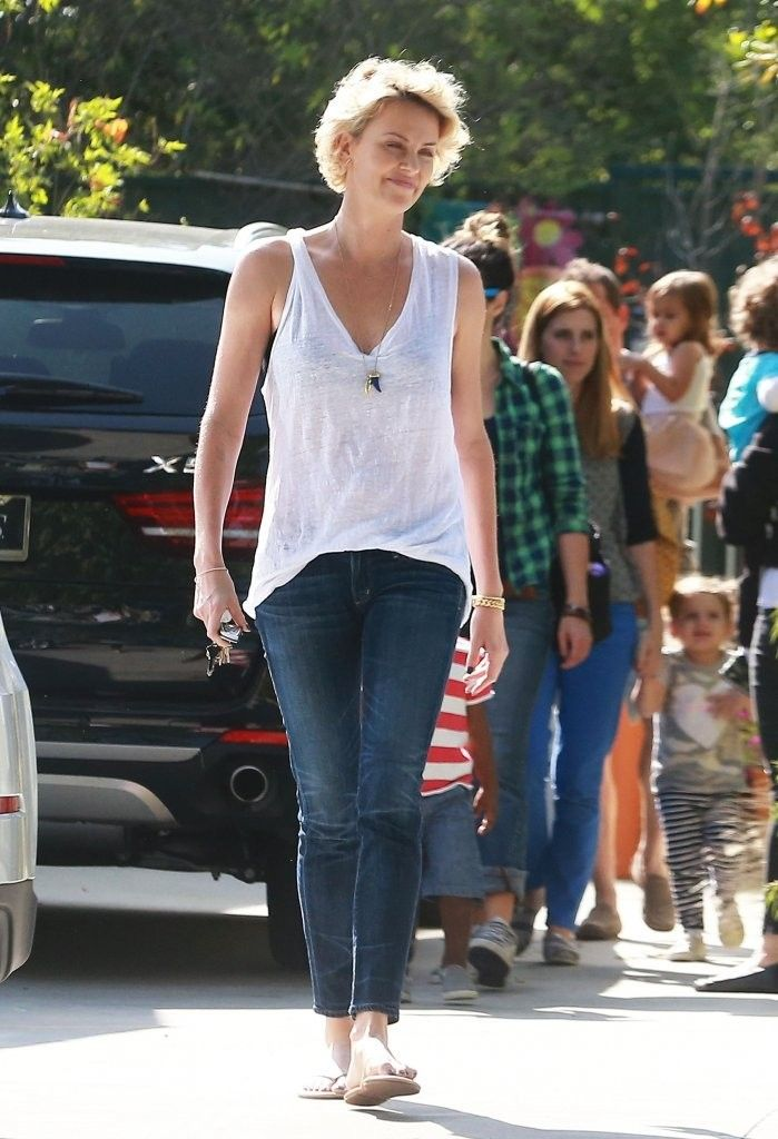 Charlize Theron picking up her son Jackson from school in Los Angeles, California on April 22, 2014.