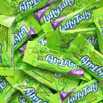 Yummy Sour Apple Laffy Taffy from Temptation Candy. #GreenTaffy #Wonka #GreenCandy