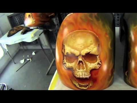 Skulls of Fire - How to airbrush skulls and fire - YouTube