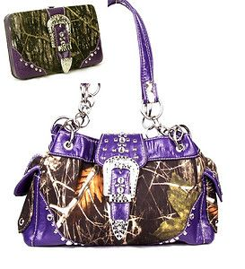 Western Purse Handbag Belt Buckle Camouflage Camo Studs Purple Trim W Wallet