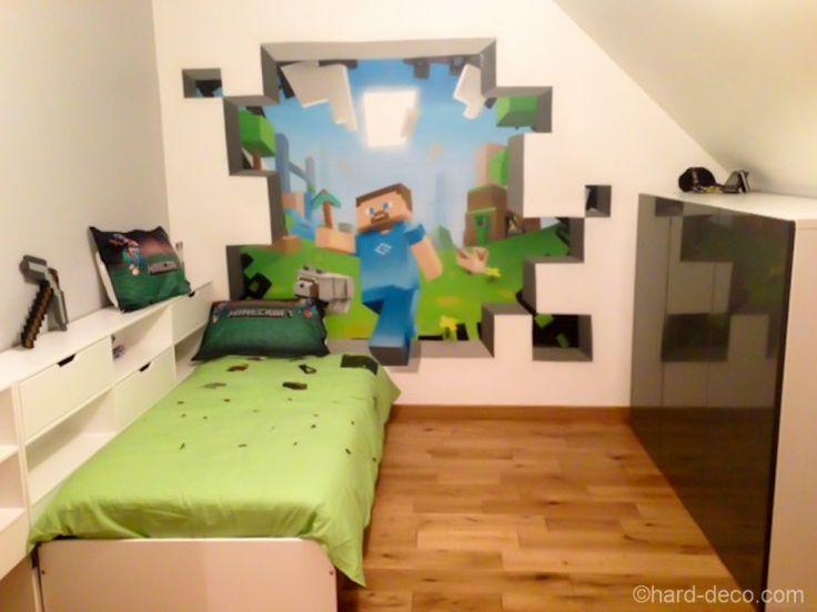 Deco Murale à l'aerosol : chambre ado jeux vidéos Minecraft
