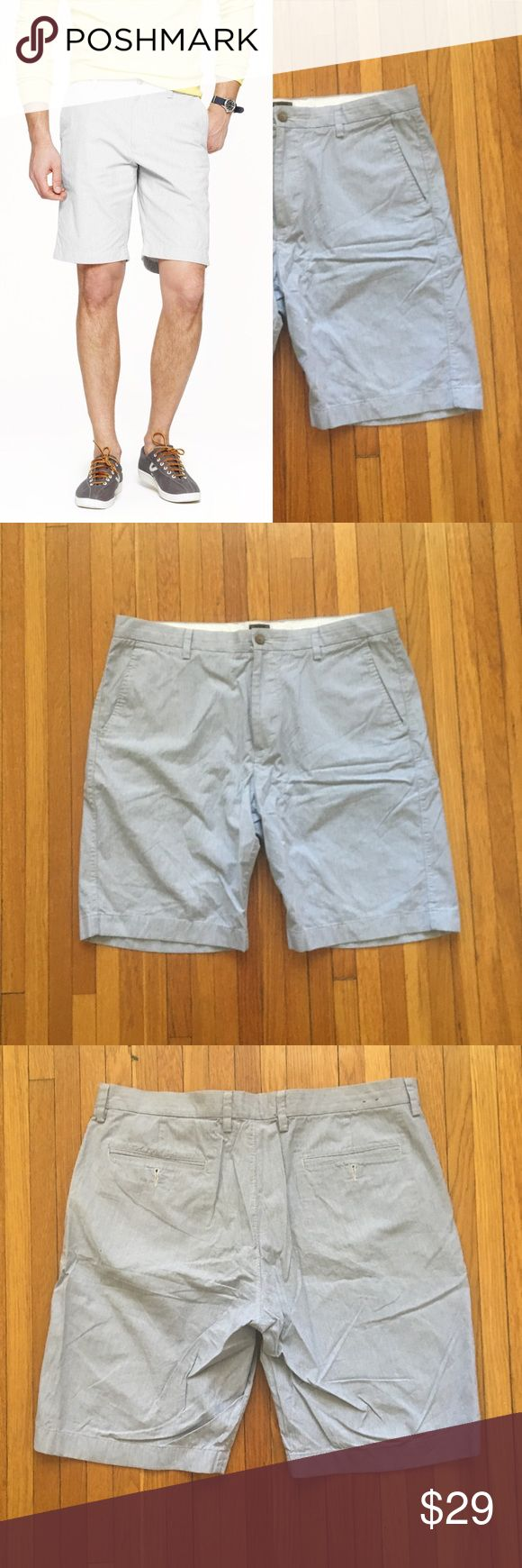 "J. Crew Club Microstripe Short J. Crew club short in microstripe, 36"" waist, in good condition. Sign of wear includes faint stain above back left pocket (pictured above). Classic pared-down silhouette in finely striped lightweight cotton. Narrower leg, a lower rise and a more refined cut. Classic fit. 100% Cotton. 11"" inseam. Item 9387. No trades. Feel free to make a respectable offer. Thank you for looking! J. Crew Shorts Flat Front"