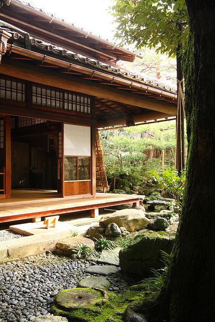 Kanazawa, Ishikawa, Japan. I always thought it'd be neat to have a back deck like this that goes around the house
