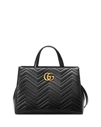 GG+Marmont+Medium+Matelassé+Top-Handle+Bag,+Black+by+Gucci+at+Neiman+Marcus.