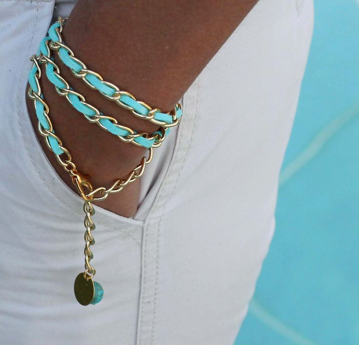 Boho Woven GOLD CHAIN Triple Wrap Bracelet - Aqua TURQUOISE Faux Suede - 11X6mm Chain - Dangle Charms - Any Size - Wholesale - Ref 491. $14.99, via Etsy.