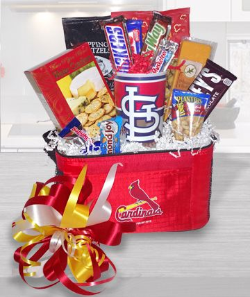 Reminisce about that game you shared with these tasty treats.  Includes a 22oz MLB Hardwall Cardinals cup, savory cheese, crispy crackers, dipping pretzels, caramel popcorn, peanuts and candy bars.Substitutions of equal or greater value may be made depending on season and availability of product or container.     LOCAL AREA DELIVERY ONLY