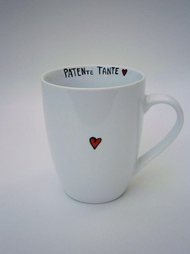 ** Dein Geschenk für die Patentante **Hoch Die Tassen** ★ Liebevoll von Hand beschriftete Tasse für die Patentante - nach Wunsch auch mit dem Namen der Patentante! Farbe der Tasse :...