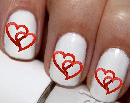 20 pc Valentines Day Hearts Nail Art Nail Decals Nail Stickers Lowest Price On Etsy #cg4376na8