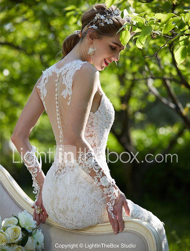 LAN TING BRIDE Sereia Vestido de casamento - Chique e Moderno Transparências Vestidos Noiva de Cor Cauda Corte Decorado com Bijuteria de 2017 por R$675.97